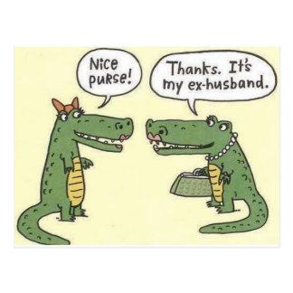 Lustiger ex Ehemann-Alligatorgeldbeutel Postkarte