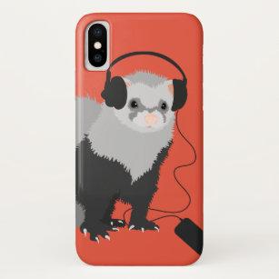 Lustiger Frettchen-Musikfreund iPhone XS Hülle