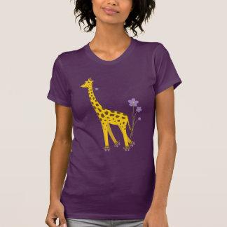 Lustiger Giraffen-Rollen-Skaten-Dunkelheits-Frauen T-Shirt