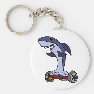 Lustiger Haifisch auf rotem Hoverboard Schlüsselanhänger
