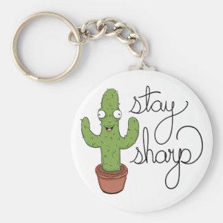 Lustiger Kaktus-Aufenthalt-Scharf-Charakter Schlüsselanhänger
