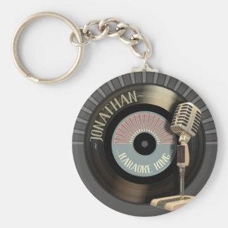 Lustiger Karaoke-König Retro Record Schlüsselanhänger