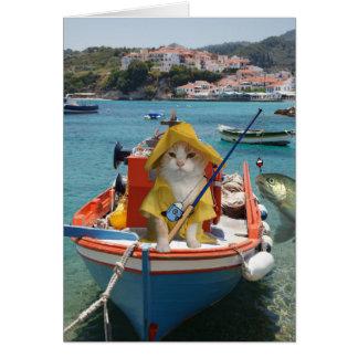 Lustiger Katzen-Geburtstag für Fischer Grußkarte