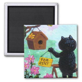 Lustiger Katzen-Kunstbirdhouse-Cartoon Quadratischer Magnet