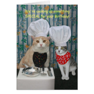Lustiger Kochs-Katzen-Geburtstag Grußkarte