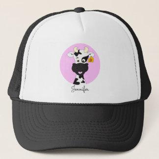 Lustiger Kuh-Cartoonrosa-Namenhut Truckerkappe