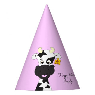 Lustiger Kuh-Cartoonrosamädchen-Namengeburtstag Partyhütchen