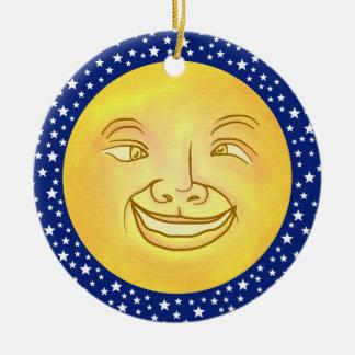 Lustiger Mond-Mann-Weltraum Vintag Rundes Keramik Ornament