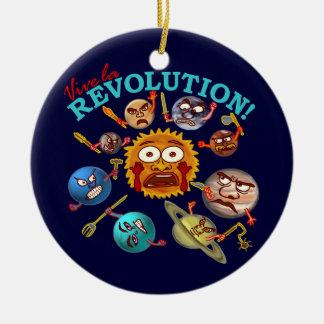 Lustiger Planeten-Revolutions-Solarsystems-Cartoon Rundes Keramik Ornament