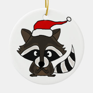 Lustiger Raccoon in der Keramik Ornament