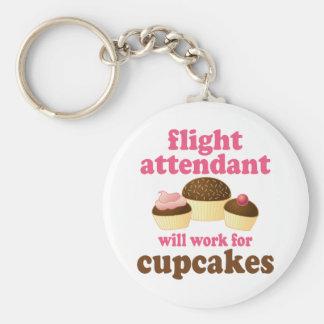 Lustiger Schokoladen-Kuchen-Flugbegleiter Standard Runder Schlüsselanhänger