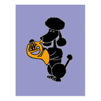 Lustiger schwarzer Pudel, der französisches Horn Postkarte