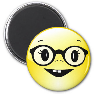 Lustiger Smiley mit Glas-Kühlschrank-Magneten Runder Magnet 5,1 Cm