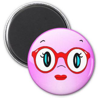 Lustiger Smiley mit Glas-Kühlschrank-Magneten Runder Magnet 5,7 Cm