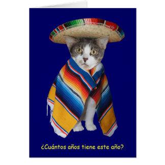 Lustiger spanischer Katzen-/Miezekatze-Geburtstag Grußkarte