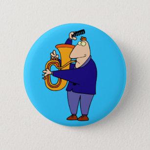 Lustiger Tuba-Spieler-Knopf Button