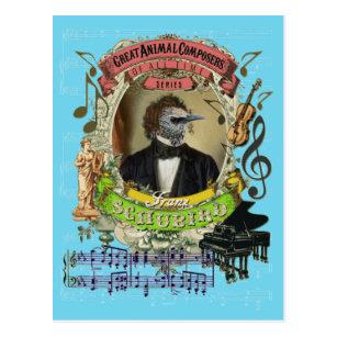 Lustiger Vogel-Tierkomponist Schubert Franz Postkarte