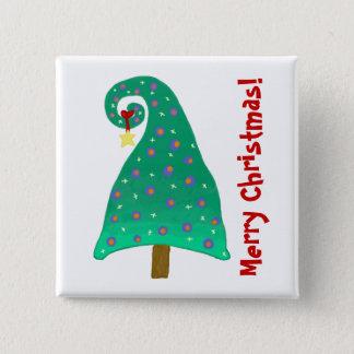 Lustiger Weihnachtsbaum mit Feiertags-Mitteilung Quadratischer Button 5,1 Cm