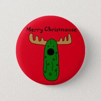 Lustiger Weihnachtsessiggurken-Elch-Cartoon Runder Button 5,1 Cm