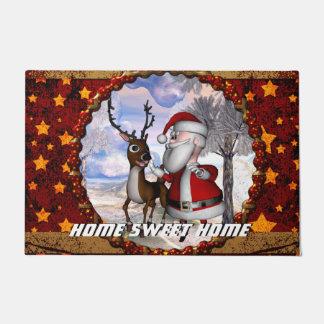 Lustiger Weihnachtsmann mit Ren Türmatte