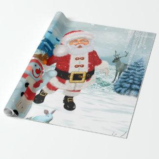 Lustiger Weihnachtsmann mit Schneemann Geschenkpapier