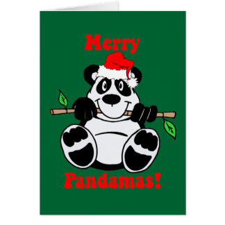 Lustiger Weihnachtspanda-Bär Grußkarte