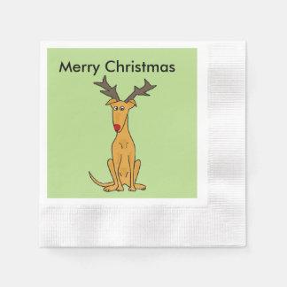 Lustiger Weihnachtswindhund-Hund als Ren Papierserviette