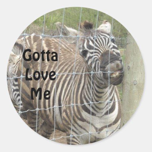 Lustiger Zebra Runder Aufkleber