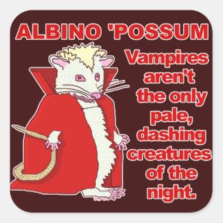 Lustiges Albino-Opossum-Vampirs-Tier Quadratischer Aufkleber