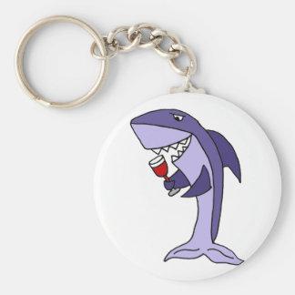 Lustiges blauer Haifisch-Trinkglas Rotwein Schlüsselanhänger