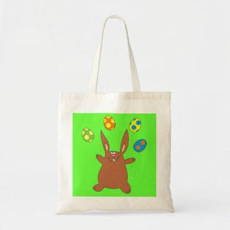 Lustiges Brown-Häschen, das Osterei-Kindertasche Tragetasche