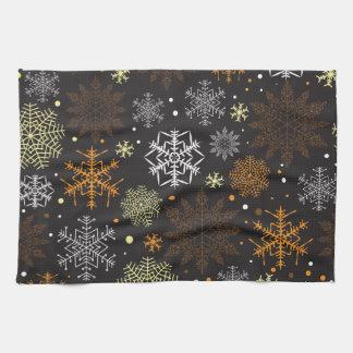 Lustiges Brown-Schneeflocke-Muster Handtuch