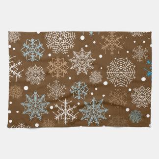 Lustiges Brown-Schneeflocke-Muster Küchenhandtücher