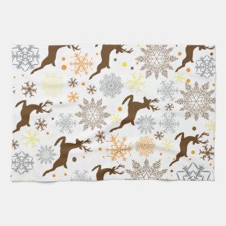 Lustiges Brown-Weihnachtsmuster Küchenhandtuch