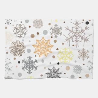Lustiges buntes Schneeflocke-Muster Geschirrtuch