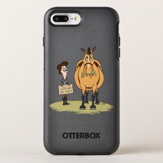 Lustiges fettes Cartoon-Pferd und Junge arbeiten OtterBox Symmetry iPhone 8 Plus/7 Plus Hülle