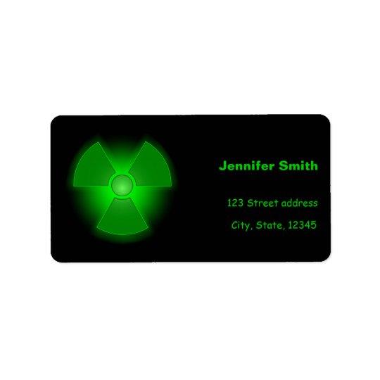 Lustiges grünes glühendes Radioaktivitätssymbol Adress Aufkleber