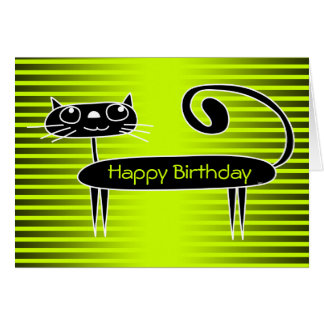 Lustiges Katzen-Geburtstags-Karten-Grün Karte