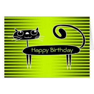 Lustiges Katzen-Geburtstags-Karten-Grün Mitteilungskarte