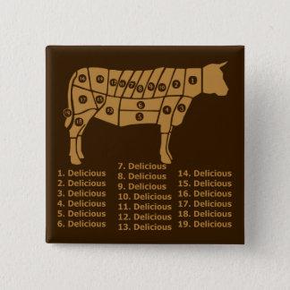 Lustiges Kuh-Diagramm Quadratischer Button 5,1 Cm
