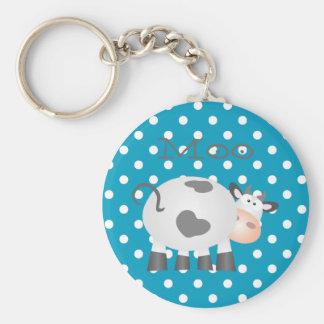 Lustiges Kuh-MOO und weißer Tupfen-Knopf Keychain Schlüsselanhänger