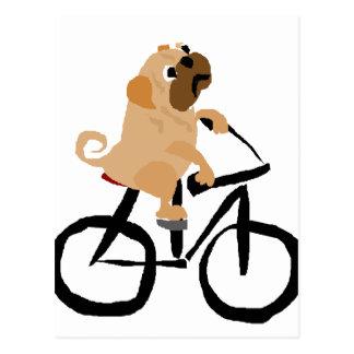 Lustiges Mops-Welpen-Hundereitfahrrad Postkarte