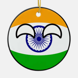 Lustiges neigendes Geeky Indien Countryball Rundes Keramik Ornament