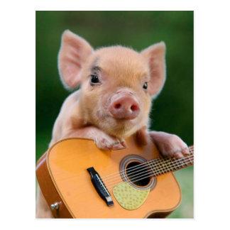 Lustiges niedliches Schwein, das Gitarre spielt Postkarte