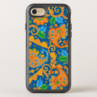 Lustiges orange Blumenpaisley-Muster OtterBox Symmetry iPhone 7 Hülle
