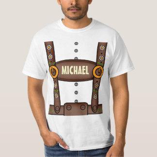 Lustiges personalisiertes Lederhosen Oktoberfest T-Shirt