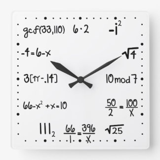 Lustiges Pop-Quiz-Mathe-Genie Quadratische Wanduhr