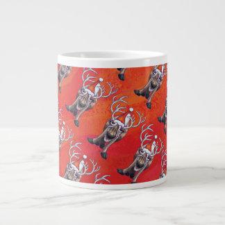 Lustiges Ren-Muster auf Rot Extragroße Tasse