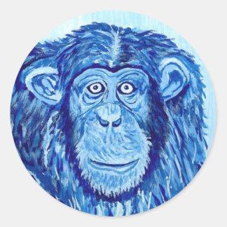 Lustiges Tier des blauen Schimpanseaffen Runder Aufkleber