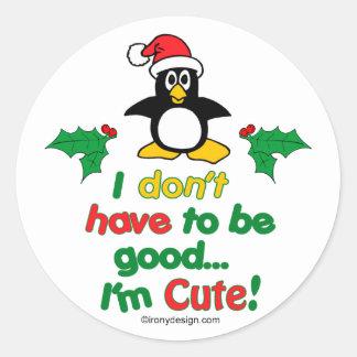 Lustiges Weihnachten muss ich nicht gut sein ich Runder Aufkleber